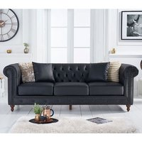 Product photograph showing Montrose Leather 3 Seater Sofa In Black
