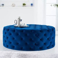 Product photograph showing Montrose Velvet Large Round Footstool In Blue