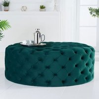 Product photograph showing Montrose Velvet Large Round Footstool In Green