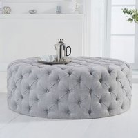 Product photograph showing Montrose Velvet Large Round Footstool In Grey