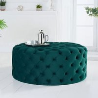 Product photograph showing Montrose Velvet Small Round Footstool In Green