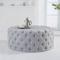 Product photograph showing Montrose Velvet Small Round Footstool In Grey