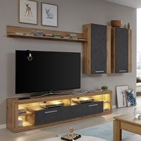 Monza Living Room Set 3 In Wotan Oak And Matera With LED