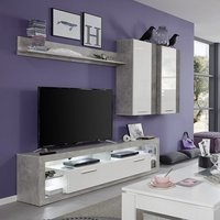 Monza Living Room Set 3 In Grey Gloss White Fronts With LED