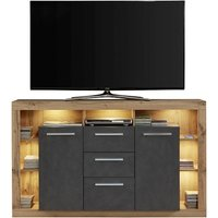 Monza Wooden Tv Sideboard In Wotan Oak And Matera With LED