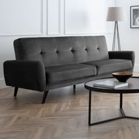 Product photograph showing Monza Velvet Upholstered 3 Seater Sofa In Grey With Black Legs