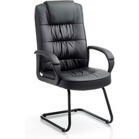 Moore Leather Cantilever Visitor Chair In Black With Arms