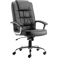 Moore Leather Deluxe Executive Office Chair In Black With Arms