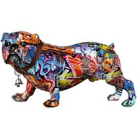 Product photograph showing Mops Standing Pop Art Poly Design Sculpture In Multicolor