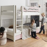 Morden Kids Wooden Bunk Bed With Safety Rail In Light Rose