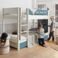 Morden Kids Wooden Bunk Bed With Safety Rail In Petroleum