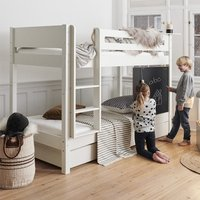 Morden Kids Wooden Bunk Bed With Safety Rail In Snow White