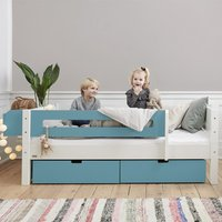 Morden Kids Day Bed With Safety Rail And Drawers In Petroleum