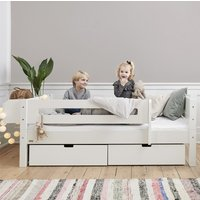 Morden Kids Day Bed With Safety Rail And Drawers In Snow White