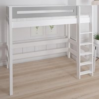 Morden Kids High Sleeper Bed With Safety Rail In Silver Grey