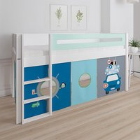 Product photograph showing Morden Kids Mid Sleeper Bed In Azur Mint With Carwash Curtain