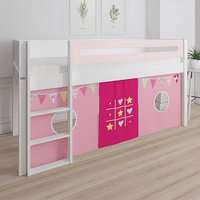 Product photograph showing Morden Kids Mid Sleeper Bed In Light Rose With Bunting Curtain