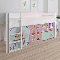 Product photograph showing Morden Kids Mid Sleeper Bed In Light Rose With Cup Cake Curtain