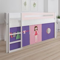 Product photograph showing Morden Kids Mid Sleeper Bed In Light Rose With Doll Curtain