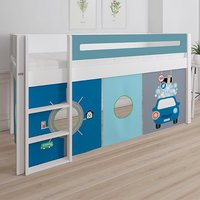 Product photograph showing Morden Kids Mid Sleeper Bed In Petroleum With Carwash Curtain