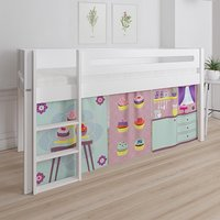 Product photograph showing Morden Kids Mid Sleeper Bed In Snow White With Cup Cake Curtain