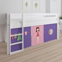 Product photograph showing Morden Kids Mid Sleeper Bed In Snow White With Doll Curtain