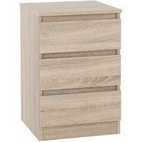 Moretti Wooden Bedside Cabinet In Sonoma Oak With 3 Drawers