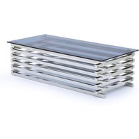 Product photograph showing Moritz Tinted Glass Top Rectangle Coffee Table With Steel Base