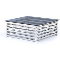 Product photograph showing Moritz Tinted Glass Top Square Coffee Table With Steel Base
