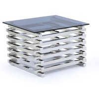 Product photograph showing Moritz Tinted Glass Top Square End Table With Steel Base