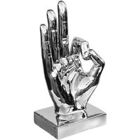 Product photograph showing Wendy Modern Large Ok Hand Sign Cermamic Sculpture In Silver