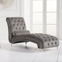 Product photograph showing Mulberry Modern Fabric Lounge Chaise In Grey Velvet