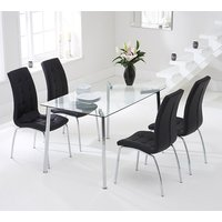 Product photograph showing Muncol Glass Dining Table In Clear With 4 Gala Black Chairs