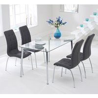 Product photograph showing Muncol Glass Dining Table In Clear With 4 Gala Chrcoal Chairs