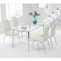 Product photograph showing Muncol Glass Dining Table In Clear With 4 Gala Cream Chairs