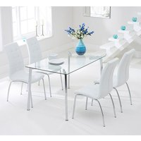 Product photograph showing Muncol Glass Dining Table In Clear With 4 Gala Ivory Chairs