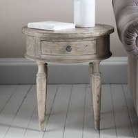 Mustique Wooden Round Side Table In Light Brushed Natural