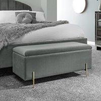 Mystikin Fabric Upholstered Ottoman Storage Bench In Grey