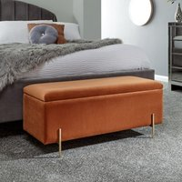 Mystikin Fabric Upholstered Ottoman Storage Bench In Russet