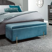 Mystikin Fabric Upholstered Ottoman Storage Bench In Teal