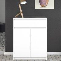 Nakou High Gloss 2 Doors 1 Drawer Sideboard In White