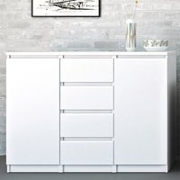 Product photograph showing Nakou High Gloss 2 Doors 4 Drawers Sideboard In White