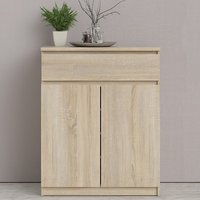 Product photograph showing Nakou Wooden 2 Doors 1 Drawer Sideboard In Oak