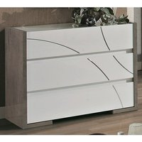 Product photograph showing Namilon Wooden Chest Of Drawers In White And Grey Marble Effect