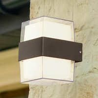 Product photograph showing Naos Square Led Outdoor Up Down Wall Light In Black Clear Glass
