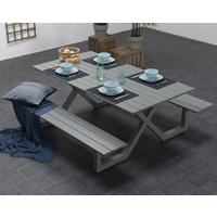 Napels 6 Seater Picnic Dining Table With Bench In Artic Grey