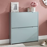 Product photograph showing Narrow Wooden 2 Tier Shoe Storage Cabinet In Grey High Gloss