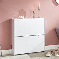 Product photograph showing Narrow Wooden 2 Tier Shoe Storage Cabinet In White High Gloss