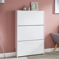 Product photograph showing Narrow Wooden 3 Tier Shoe Storage Cabinet In White High Gloss