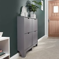 Product photograph showing Narrow Wooden Shoe Storage Cabinet In Grey With 4 Drawers